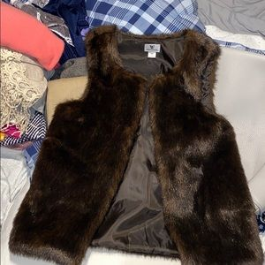Worthington chocolate fur vest